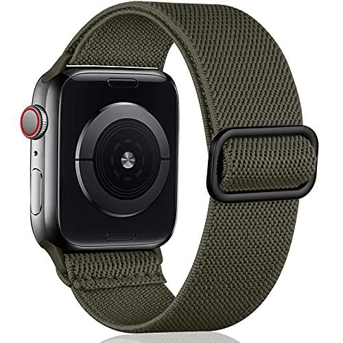 Oielai Solo Loop Armband Kompatibel mit Apple Watch Armband 45mm 44mm 42mm 41mm 40mm 38mm, Verstellbares Nylon Sport Ersatz Armband für iWatch SE Series 7/6/5/4/3/2/1, 42mm/44mm/45mm, Armee Grün