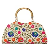 Oh-Teri Women's Fabric Handcrafted Party Clutch (HB_2, Multicolour)