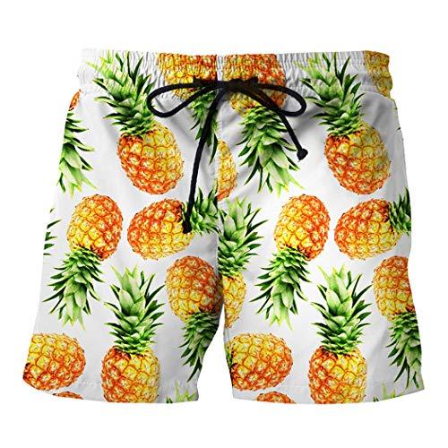 Jeff-chy Mens Slim Fit Snelle Droge Korte Anker Zwembroek Creatieve Ananas Print Casual Grote Grootte Strand Broek
