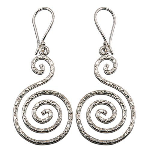 Flower Coil Earring Pure Silver Thai Karen Hilltribe Design