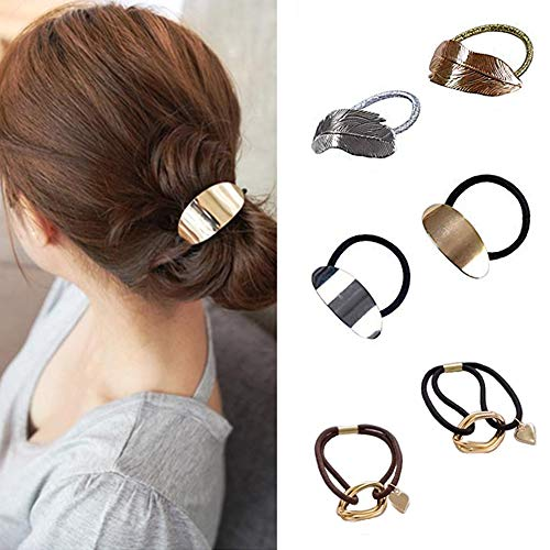 Shuxy 6PCS High Ponytail Holder Metal Leaf Hair Band Rope Wrap Alloy Punk Hair Cuff Elastic Hair Clips Metal Hair Ties Metallic Headwear Holder Fashion Hair Accessories for Ladies Toddler Thick Hair