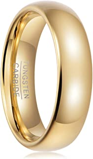 Tungsten Carbide Ring Mens Wedding Band Domed,Tungsten Ring Women,Engagement Promise Ring Him,2mm 4mm 6mm 8mm,Rose Gold Black Silver White,Shiny Polished,Comfort Fit Style