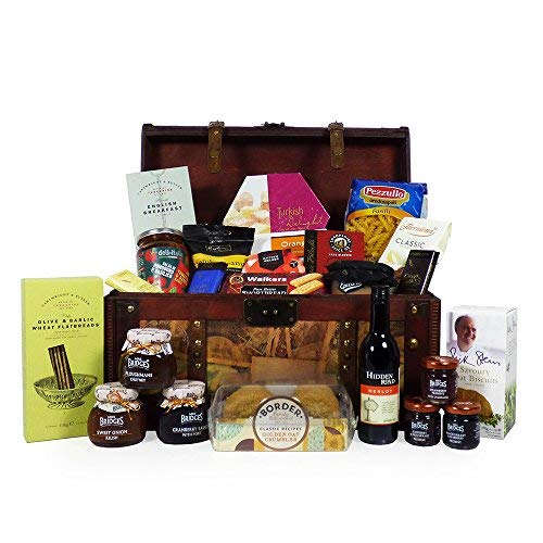 Vintage Style Gourmet Food and Wine Chest Hamper with 24 Delicious Items - Gift Ideas for Birthday, Mum, Mothers Day, Christmas, Congratulations, Corporate Presents, Dad, Fathers Day, him, her