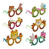 Relaxdays Gafas de Fiesta con Animales, Accesorios para Disfraces de Carnaval, Pack de 6, Plástico-Papel, Multicolor, (10024249)