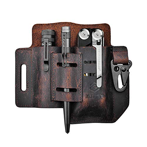 Leather Sheath for Leatherman Multitool & Knife, EDC Belt Organizer with Multitool Pouch, Flashlight Holster, Pen Holder and Keychain Clip