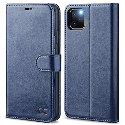 OCASE iPhone 11 Pro Hülle Handyhülle [Premium Leder] [Standfunktion] [Kartenfach] [Magnetverschluss] Tasche Flip Hülle Etui Schutzhülle Schlanke Leder flip case für iPhone 11 Pro Cover Blau
