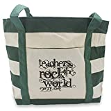 Teacher Peach Inspirational Canvas Teacher Tote...