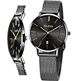 Women's Watches Black Luxury Dress Wrist Watches for Lady Waterproof Stainless Steel Mesh Band Woman Minimalist Watch OLEVS Thin Watches Fashion Slim Watch with Date,reloj de Mujer