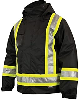 Work KINGS42611 Safety Insulated 5-in-1 Parka, XL, Black