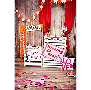OFILA Valentine s Day Backdrop 5x7ft Rustic Valentine s Day Photography Background Flowers Photo Kids Valentine s Day Photobooth Wooden Wall Background Video Props