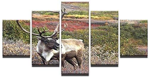 NC56 5 Panel Wall PaintingSnow View Tier Wolf Bilder Drucke auf Leinwand Stadt Das Bild Dekor Öl Home Decoration Print 150x80cm