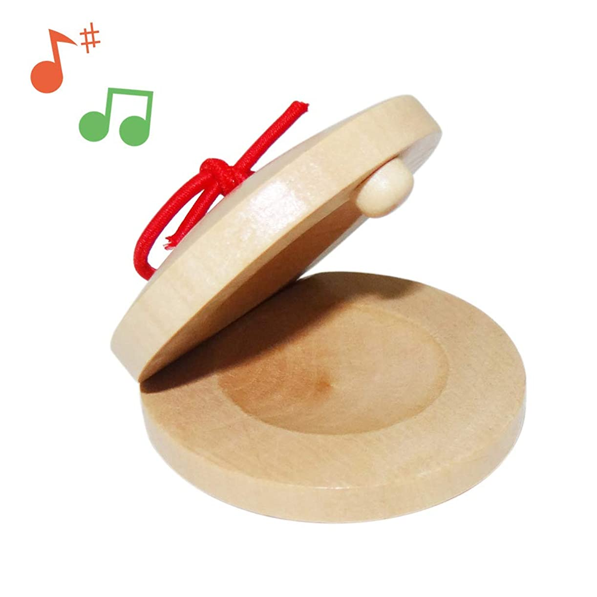 浸透する挑む薄汚いカスタネット ハンドカスタネット パーカッション 教育用 遊戯用 天然木製 幼児 小学校 幼稚園 子供向け 知育 玩具 楽器 ギフト シンプル「ナチュラル」