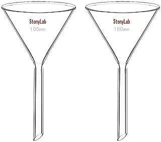 StonyLab 2-Pack Glass Heavy Wall Funnel Borosilicate Glass Funnel, 100mm Diameter, 100mm Stem Length