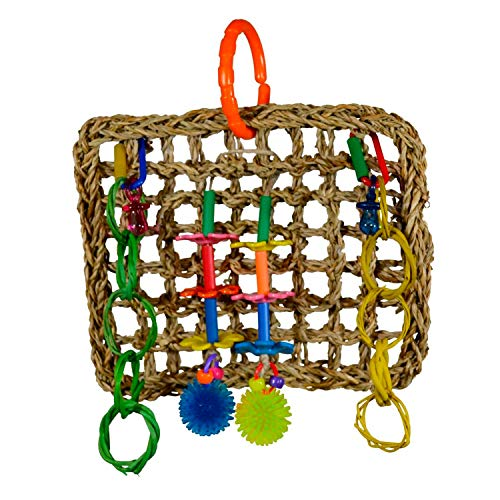 Super Bird Creations SB741 Seagrass Mini Activity Wall with Colorful Foraging Toys for Parrots, Medium Size, 9 x 7 x 2,Varies