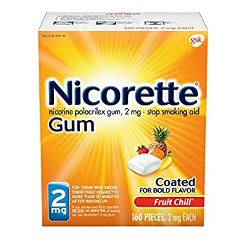 Nicorette 2mg Nicotine Gum to Quit Smoking - Fruit Chill Flavored Stop Smoking Aid 160 Count