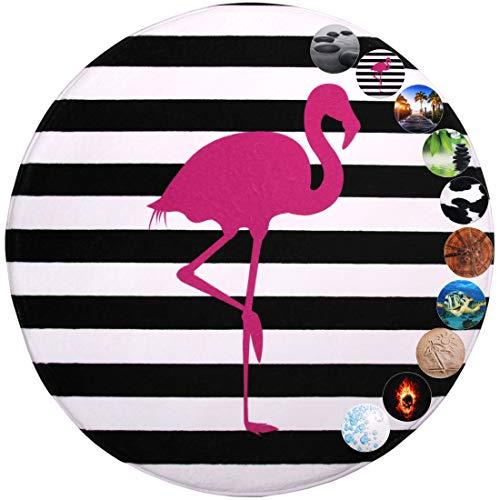Sanilo Badteppich Rund, viele schöne runde Badteppiche zur Auswahl, hochwertige Qualität, sehr weich, schnelltrocknend, waschbar, 80 cm (Flamingo, 80 cm)