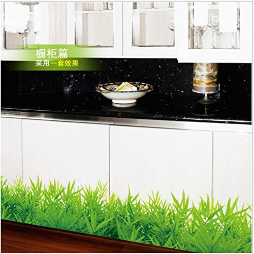 TYLOLMZ Color fresco Planta de hierba verde Cintura Línea Pintura Etiqueta de la pared Decoración para el hogar Línea de zócalo Para baño Cocina Sala de estar Ventana Arte