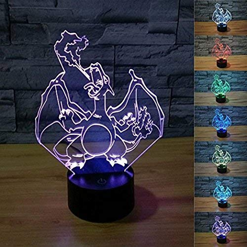 3D Illusion Charizard LED Night Light,7 Colors Gradual Changing USB Touch Switch 3D Visual Lights for Holiday Gifts or Home Decorations