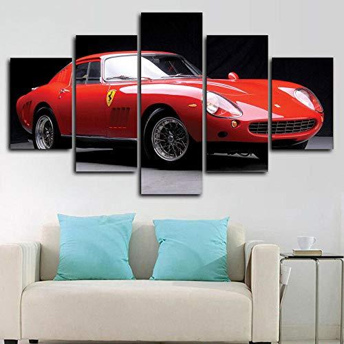 1966 Ferra 275 GTB / 4 Coche Clásico Lienzo 5 Piezas Abstracto Pared Arte Pintura Grandes Cuadros Marco 150×80Cm Cartel Pared Decoracion Hogar Murales Pared Sala Dormitorio Regalo