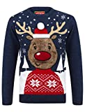 Rudolph Crew Neck Christmas Jumper In Sapphire / Castlerock - Merry Christmas-XL