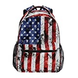 American Flag Print Backpack Patriotic USA School Bookbag for Boys Girls Computer Backpacks Book Bag Travel Hiking Camping Daypack