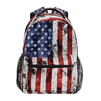 American Flag Print Backpack Patriotic USA School Bookbag for Boys Girls Computer Backpacks Book Bag Travel Hiking Camping Daypack