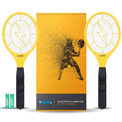 Bug Zapper Racket: Electric Fly & Mosquito Swatter Mini Handheld Battery Powered , 2 Pack from OSTAD for Total Pest Control