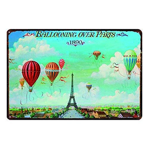 MiMiMiTee Ballooning Over metalen borden wijnoogst-metalen plakband muurkunst affiche ijzer-schilderij huis decoratie kunsthandwerk café bar erf geschenk