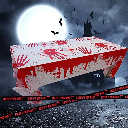Mantel Sangriento, Halloween Mantel Sangriento, Terror decoración para Halloween para Suministros de Fiesta Accesorios de casa embrujada (tablecloth-1pack-black)