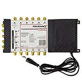 PremiumX PXMS 9/12 Multischalter mit Netzteil Multiswitch 2 SAT für 12 Teilnehmer Satverteiler Digital HDTV FullHD 4K UHD 8K -