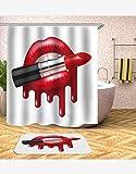 HBZZCL Cortinas De Baño Anti-Moldelabios Rojos Pintalabios Tela De Poliéster De Impresión Digital con Ganchos-150(W) X180(H) Cm