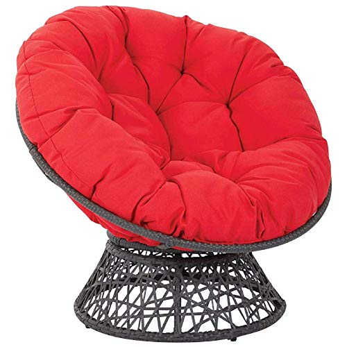 YUNLVC 40INCH Papasan Chair Cushion Egg Thicken Rattan Nest Seat Cushion Swing Hanging Egg Chair Pads with Ties Round Comfortable Chair Cushion- Red