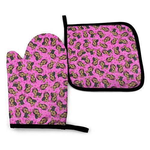 nonebrand Yorkie Party - Manopla y agarradera para horno, color rosa