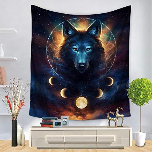 WYFCLHH Tapiz para decoración de pared, diseño de luna y cielo estrellado, diseño psicodélico, para colgar en la pared, dormitorio, sala de estar, 140 x 140 cm