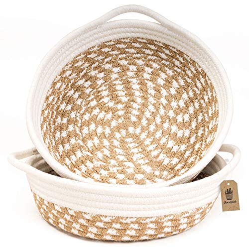 Goodpick 2pack Small Woven Basket - 9.8 x 8.7 x 2.8 inches Cotton Rope Woven Basket for Keys, Sunglasses by Front Door - Cute Basket for Remote, Controls, Phone on Nightstand - Fruit Basket in Kitchen