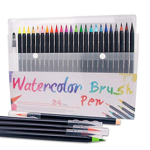 Pinselstifte Aquarell - 24+1 Brush Pen Set Handlettering Stifte Set, Manga Zeichnen Stifte, Kalligraphie Set, Aquarellpinsel Lettering Stifte Set für Bullet Journal, Kalligraphie, Geschenk