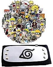 Naruto Headband Plus 50Pcs Sticker for Naruto Fans Anime Halloween Cosplay, Ninja Themed Party Black