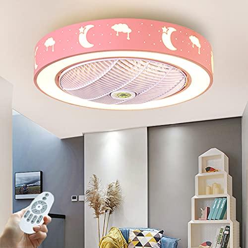 LED Invisible Ventilador De Techo Con Luz Y Mando A Distancia, Lámpara De Techo Con Iluminación Moderna Silenciosa Regulables Para Sala De Estar Dormitorio Habitación Infantil Color Opcional (Pink)