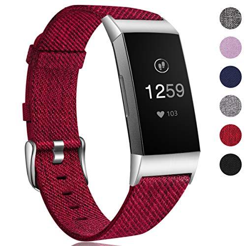 HUMENN Armband für Fitbit Charge 3 Woven Armbänd, Ersatzband Gewebte Stoff Armbands Zubehör Sport...