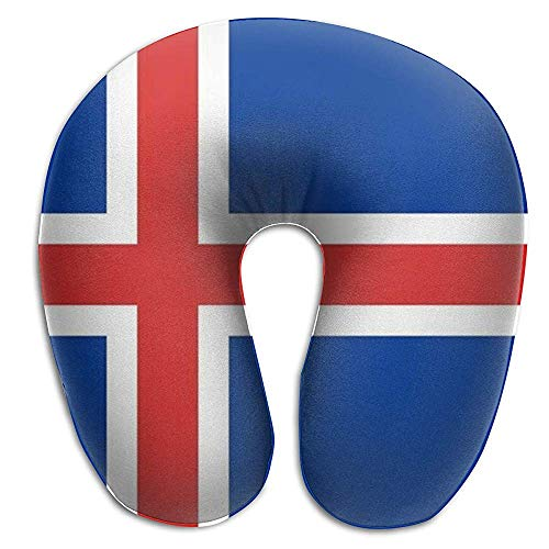 NAN TIAO Memory Foam Chin Nackenkissen Island Republic Flag Kissenunterstützung, Luxuskampf, Flugzeug, Autokissen mit atmungsaktivem Polyesterbezug