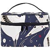 Bolsa de Viaje cosmética Azul Marino Origami Crane Metamorphosis Patrón sin Costuras Estuche de Aseo portátil de impresión Bolsa de Maquillaje