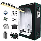 """MARS HYDRO Grow Tent Kit Complete 2x4ft SP3000 Samsung LM301B 960pcs LEDs Grow Light Meanwell Driver, 24'x48'x70' Growing Tent Kit Grow Tent Complete System 1680D Grow Tent with 4""""Ventilation Kit"""