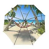 Tropical Beach (hamaca debajo del árbol) paraguas plegable de viaje, portátil, compacto, ligero, diseño automático y alta resistencia al viento