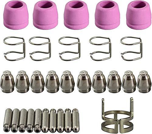 RIVERWELD 31 Stück WSD-60P WSD-60 60P Plasmaschneider, Taschenlampe, Lichtbogenstart, Abstandshalter, Abstandshalter für Verbrauchsmaterialien, Elektrodenspitzen, 1,2 mm, 60 A