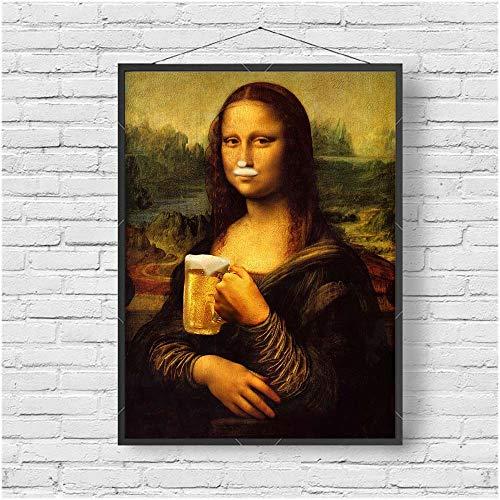 fdgdfgd Klassische Kunst Mona Lisa Trinken Bier Dekoration Malerei lustige Charakter Schlafzimmer Dekoration Foto Wand Leinwand