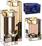 Le Sens Amazing Home Large Crystal Candle Holders Set of 3, 3.1/4.7/6.2 inches Height, Heavy Solid Square Tealight Holders Set Centerpieces for Home Decoration, Wedding