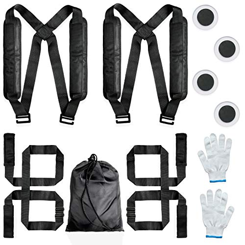 Black 2-Person Adjustable Heavy Objects Lifting & Moving Strap 300kg Weight...