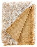 CRS Fur Fabrics Tessuto in Pelliccia Sintetica a Pelo Lungo, Acrilico, Gelo di Cammello, 1Mtr - 150cm x 100cm