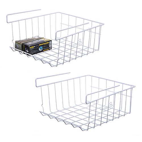 Lonian Stackable Hanging Basket, 2-Pack Under Shelf Hanging Metal Wire Storage Basket for Kitchen, Office, Pantry, Bathroom, Cabinet