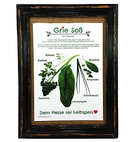 Grie Soß Poster Druck A4 Grüne Soße Hessen Rezept Print Koch Geschenk Mitbringsel Küche Deko